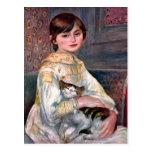 Retrato del Mademoiselle Julia Manet por Renoir Tarjetas Postales