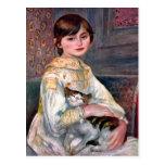 Retrato del Mademoiselle Julia Manet por Renoir Postales