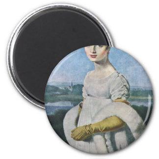 Retrato del Mademoiselle Riviere por el Au de Imán Redondo 5 Cm