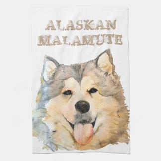 Retrato del Malamute de Alaska Toallas De Cocina