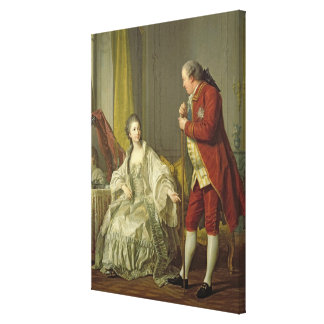 Retrato del marqués de Marigny y el suyo Impresión En Lona