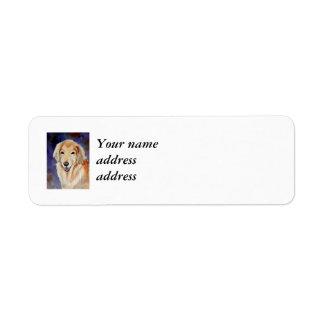 Retrato del mascota del golden retriever etiqueta de remitente