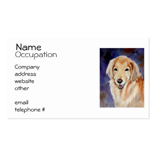 Retrato del mascota del golden retriever tarjetas de visita