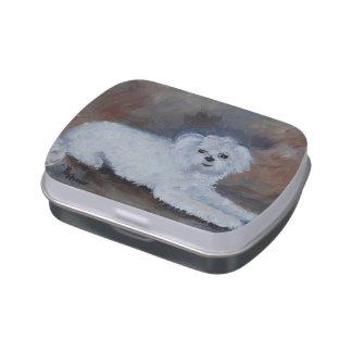 Retrato del mascota del perro del carretón frascos de caramelos