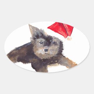 Retrato del mascota del perro del navidad pegatinas de ovaladas