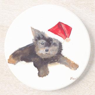 Retrato del mascota del perro del navidad posavasos para bebidas