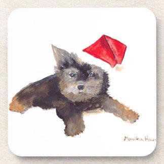 Retrato del mascota del perro del navidad posavaso
