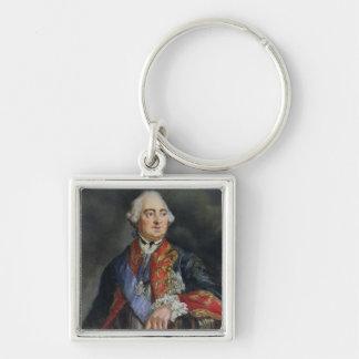 Retrato del matemático Leonhard Euler Llavero Cuadrado Plateado
