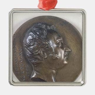 Retrato del medallón de Gioacchino Rossini 1829 Adorno Cuadrado Plateado