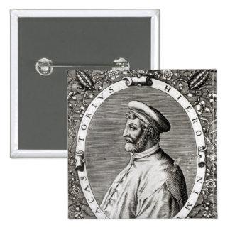 Retrato del medallón de Girolamo Fracastoro Pin Cuadrado