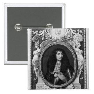 Retrato del medallón de Louis XIV Pin Cuadrado