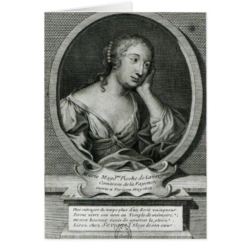 Retrato del medallón de señora de La Fayette Tarjeton