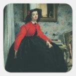 Retrato del Mlle. L.L. 1864 Pegatina Cuadrada