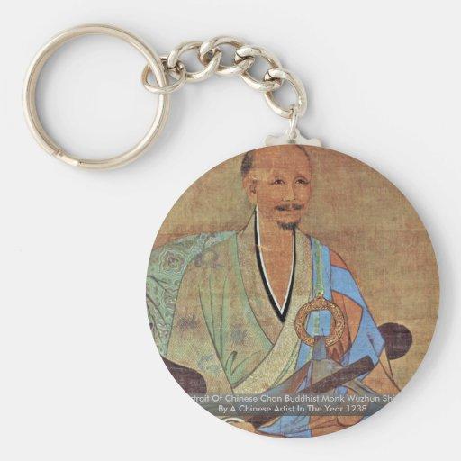 Retrato del monje budista Wuzhun de Chan del chino Llaveros