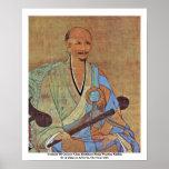 Retrato del monje budista Wuzhun de Chan del chino Impresiones