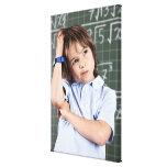 retrato del muchacho joven en sala de clase en pof impresión en lienzo estirada