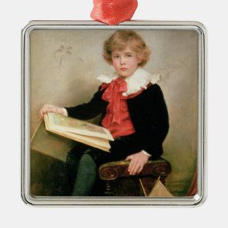Retrato del normando Stewart Davies Adorno Cuadrado Plateado