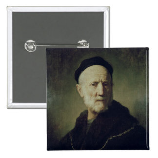 Retrato del padre de Rembrandt Pin Cuadrado