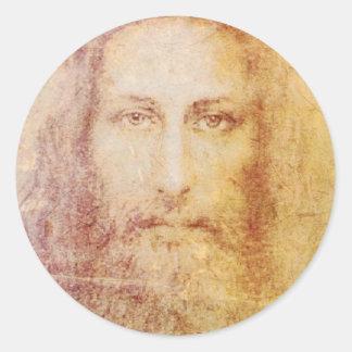 retrato del papiro del vintage de la cura del pegatina redonda