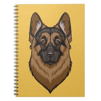Retrato del pastor alemán cuadernos