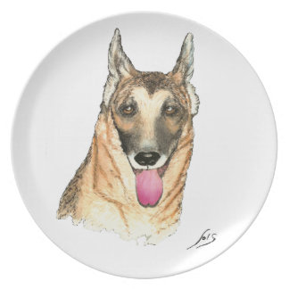 Retrato del pastor alemán plato de cena