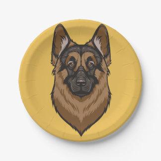 Retrato del pastor alemán plato de papel de 7 pulgadas