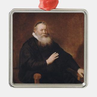 Retrato del pastor Eleazer Swalmius, 1637-42 Adorno Cuadrado Plateado