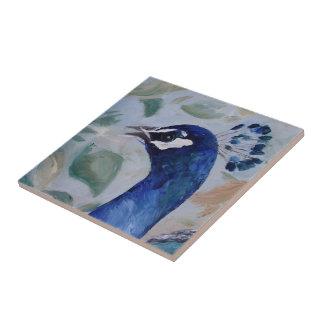 Retrato del pavo real teja cerámica