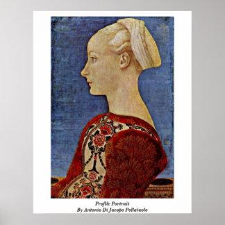 Retrato del perfil de Antonio Di Jacopo Pollaiuolo Póster