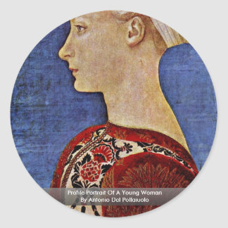 Retrato del perfil de una mujer joven pegatina redonda