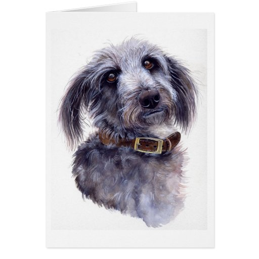 Retrato del perro creado en Watercolour Tarjeta De Felicitación