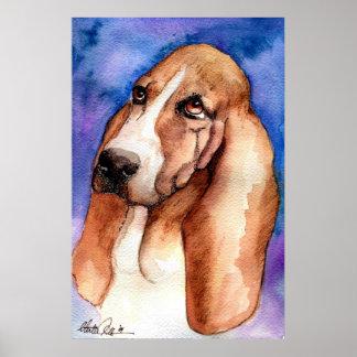 Retrato del perro de Basset Hound Póster