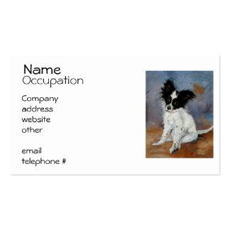Retrato del perro de Papillon Tarjetas De Visita