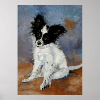 Retrato del perro de Papillon Poster