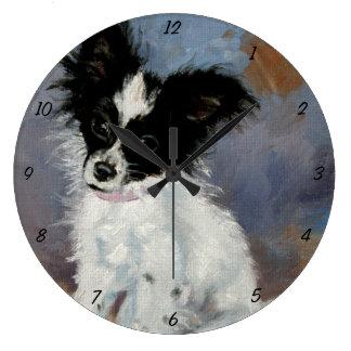 Retrato del perro de Papillon Relojes