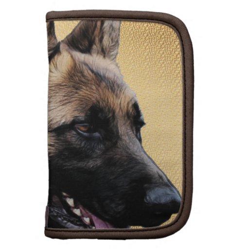 Retrato del perro de pastor alemán organizadores