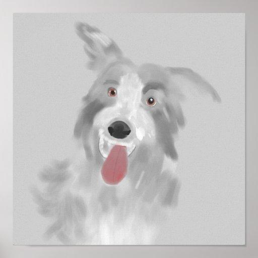 retrato del perro de revestimiento póster
