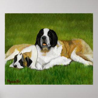Retrato del perro de St Bernard Posters