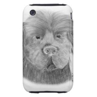 Retrato del perro de Terranova iPhone 3 Tough Coberturas