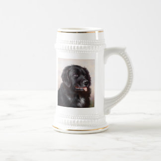 Retrato del perro de Terranova Jarra De Cerveza