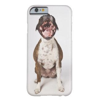 retrato del perro del boxeador que bosteza funda de iPhone 6 barely there