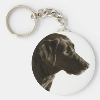 Retrato del perro negro del labrador retriever del llavero redondo tipo pin