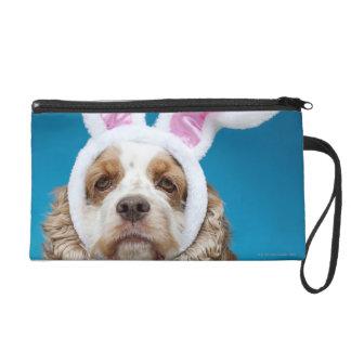 Retrato del perro que lleva los oídos del conejito