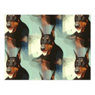 Retrato del Pinscher del Doberman Tarjetas Postales