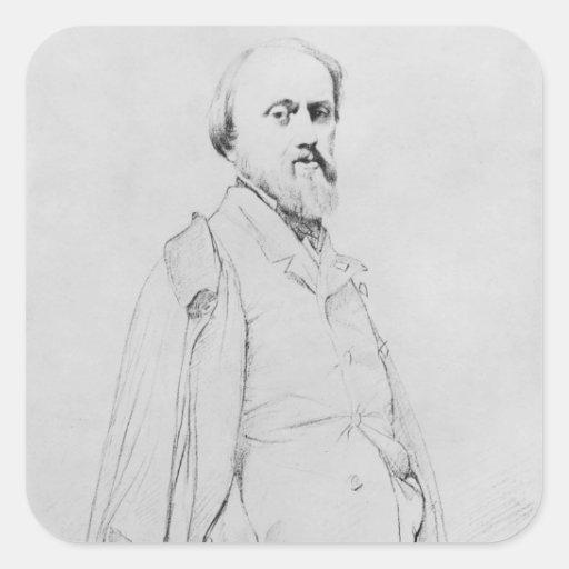 Retrato del pintor Hipólito Flandrin Pegatina Cuadrada