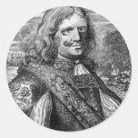 Retrato del pirata de Henry Morgan Pegatina Redonda
