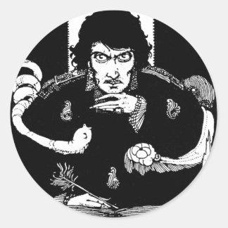 Retrato del Poe Etiqueta Redonda