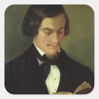 Retrato del poeta Heinrich Heine 1842 Pegatina Cuadrada
