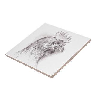 Retrato del pollo en carbón de leña azulejo cuadrado pequeño