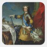Retrato del rey de Louis XV de Francia, c.1727 Pegatina Cuadradas Personalizada